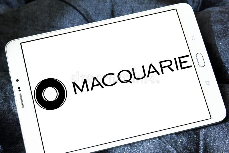 Macquarie financial services Group logo. Logo of Macquarie Group on samsung tablet. Macquarie is a global investment banking and diversified financial services royalty free stock photography