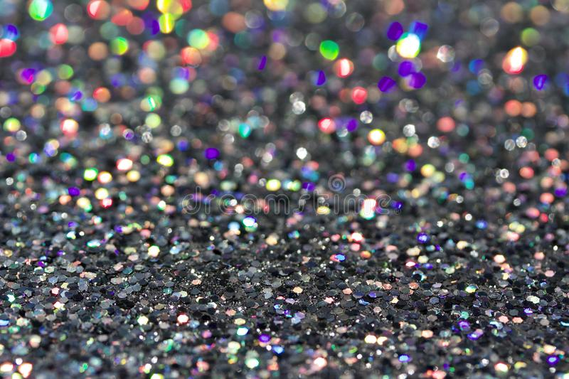 Macro abstract art background of bright silver glitter texture stock photos