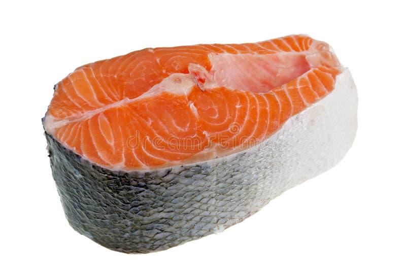 Macro aislada scaleless gruesa y fresca del filete de color salmón imagen de archivo