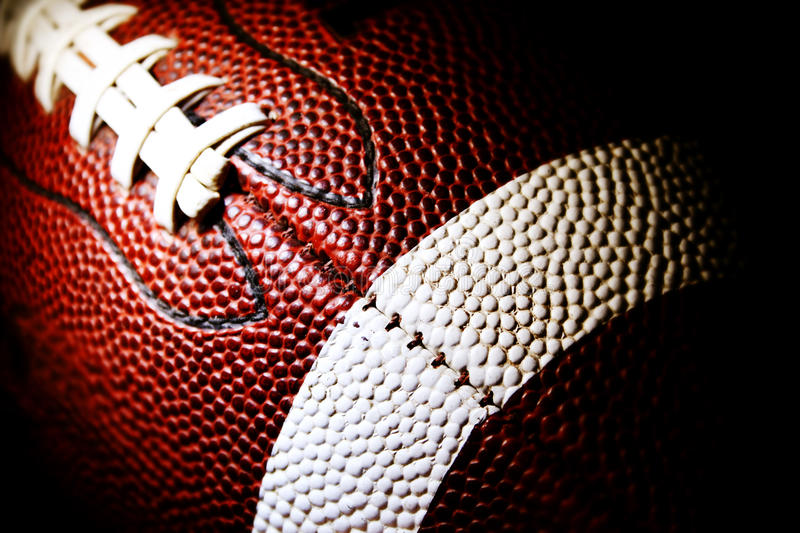 Macro of an American football royalty free stock photo
