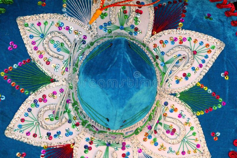 Macro azul do chapéu do mariachi mexicano de Charro foto de stock