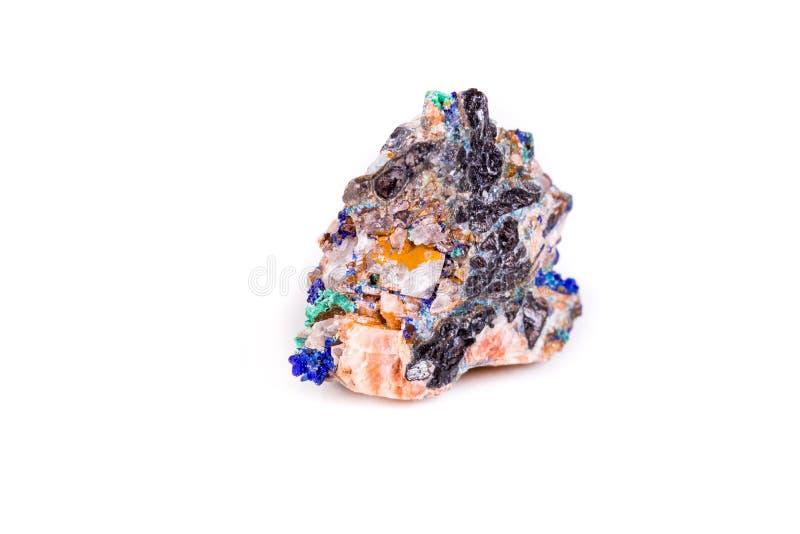Macro azurite en pierre minérale sur le fond blanc photo stock