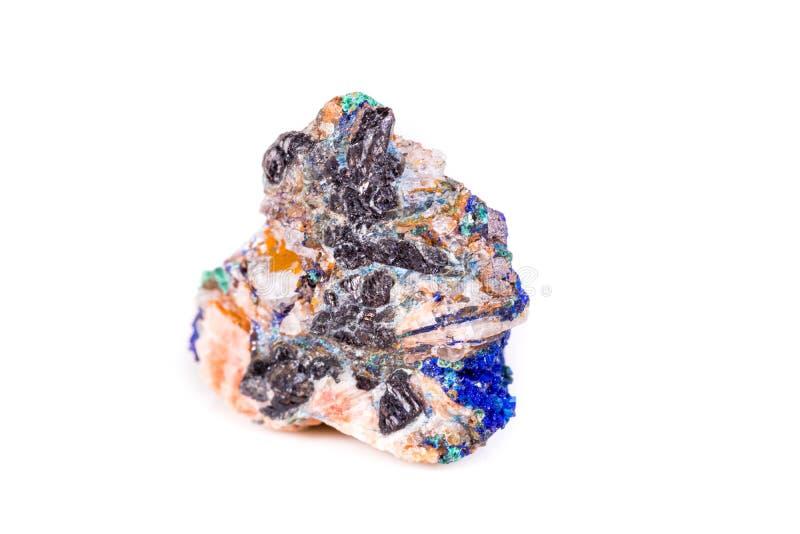 Macro azurite en pierre minérale sur le fond blanc image stock