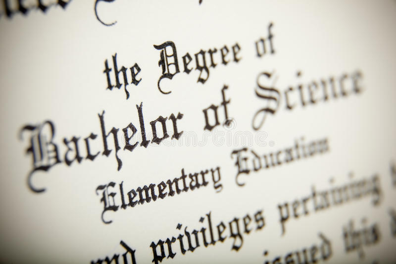 Download A Macro Of A Bachelor Of Science Degree Stock Image - Image: 10650169