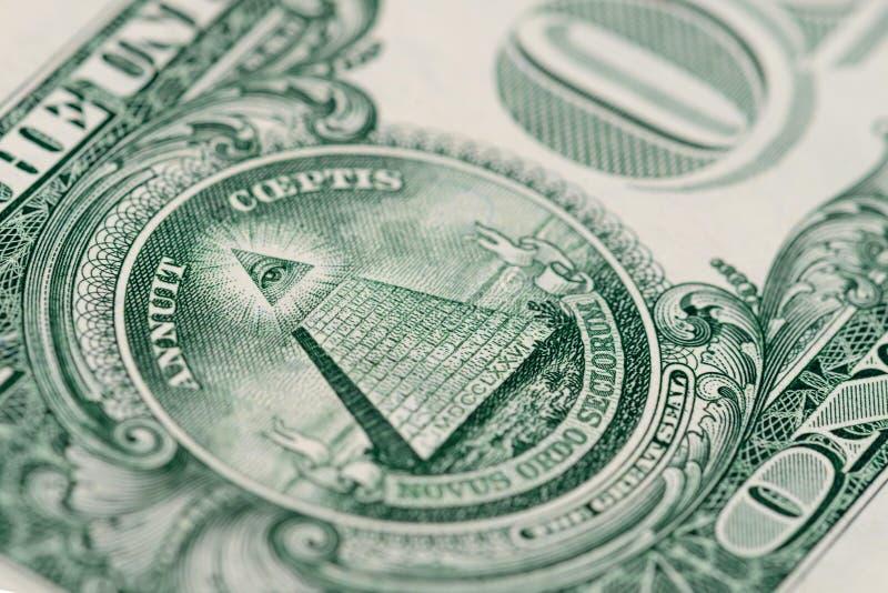 Macro banconota del frammento un dollaro americano fotografia stock