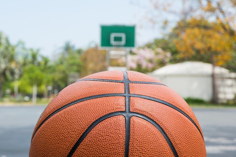 Basketball on basketball field on front view with copy space stock image