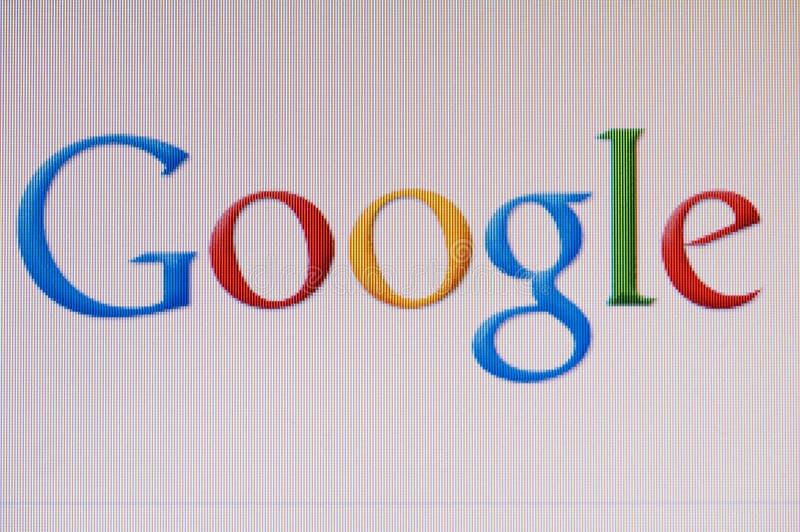 Macro beeld van monitor met googleembleem op het scherm