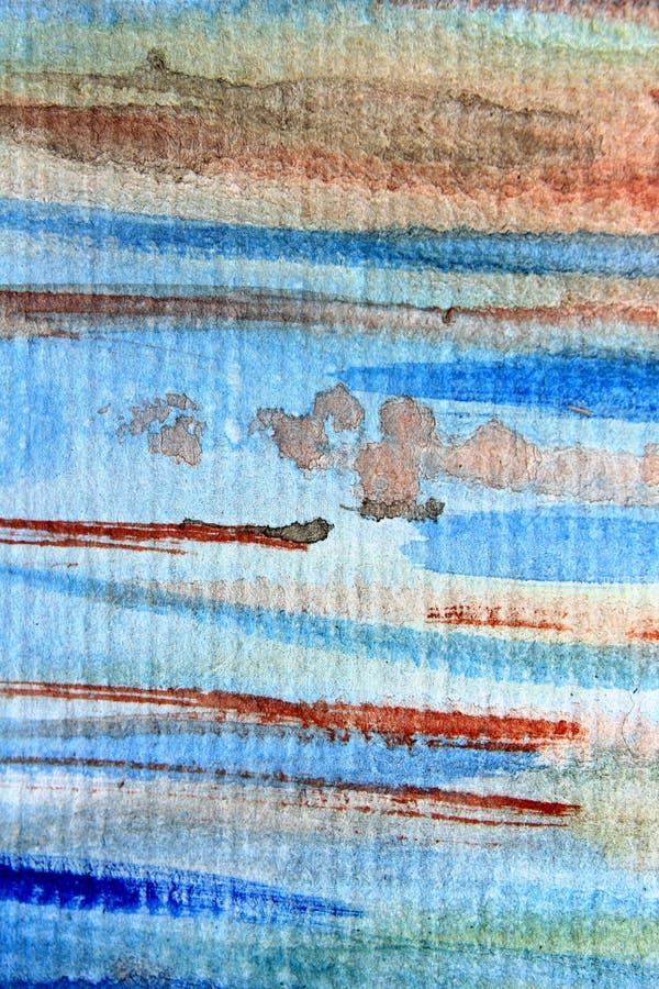 Macro Blauwe en Oranje Waterverf 4 stock afbeelding