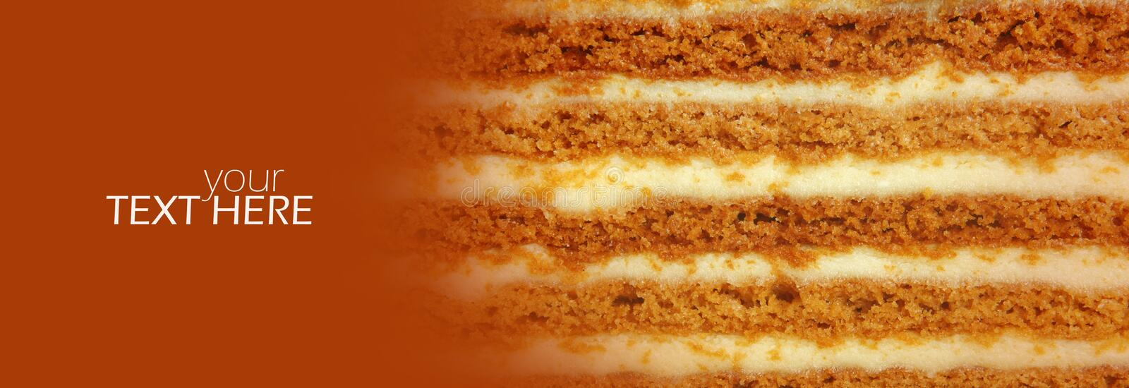 Macro cake details. With the copy space royalty free stock image