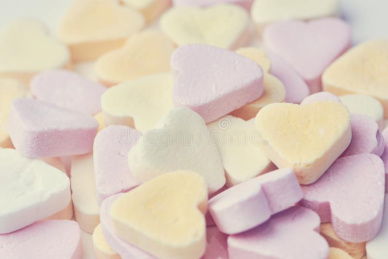 Candy hearts close up stock photos