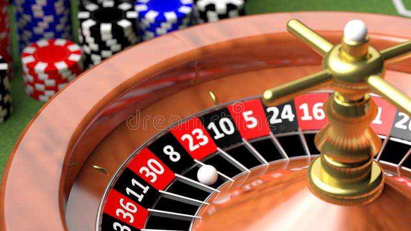 Macro of casino roulette. Numbers and ball royalty free illustration