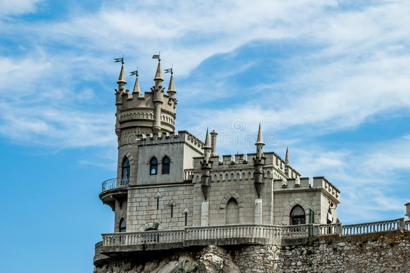 Macro of the castle Swallow`s Nest on a rock at the Black Sea, Crimea with unclouded sky background. Architecture and stock image