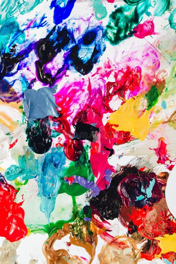 Macro cercana para arriba de diversa pintura de aceite del color acrílico colorido Concepto del arte moderno palette fotografía de archivo libre de regalías