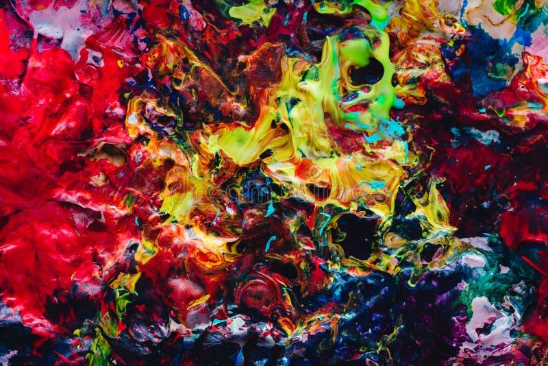 Macro cercana para arriba de diversa pintura de aceite del color acrílico colorido Concepto del arte moderno palette fotos de archivo libres de regalías