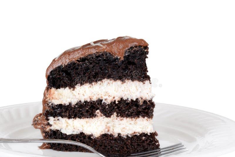 Macro chocolate cream cake with fork royalty free stock image
