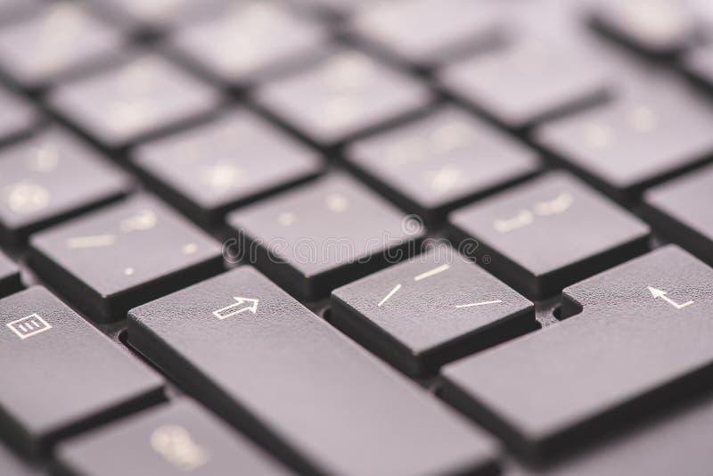 Macro clés de clavier, une vue d'angle, fond mou avec l'espace de copie photographie stock libre de droits