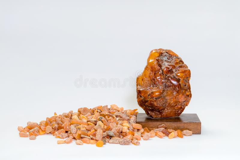 Macro Close up of an amber stones from Baltic sea. Multicolored stock image