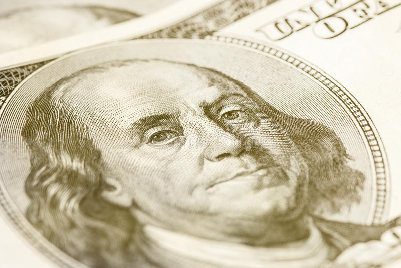 Macro Shot Image Of The Corner Of A 100 Dollar Bill