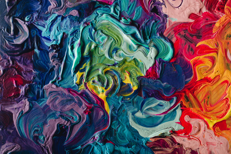 Macro close up of different color oil paint. colorful acrylic. modern art concept. Macro close up of different color oil paint. colorful acrylic. modern art royalty free stock images