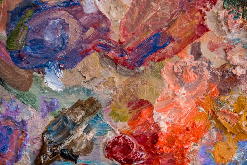 Macro close up of different color oil paint. colorful acrylic. modern art concept stock photo