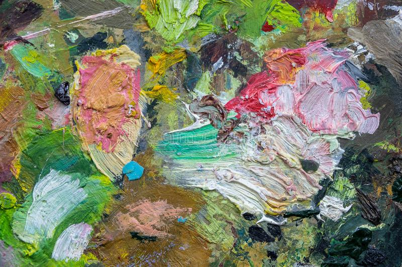 Macro close up of different color oil paint. colorful acrylic. modern art concept. Art palette background stock photo