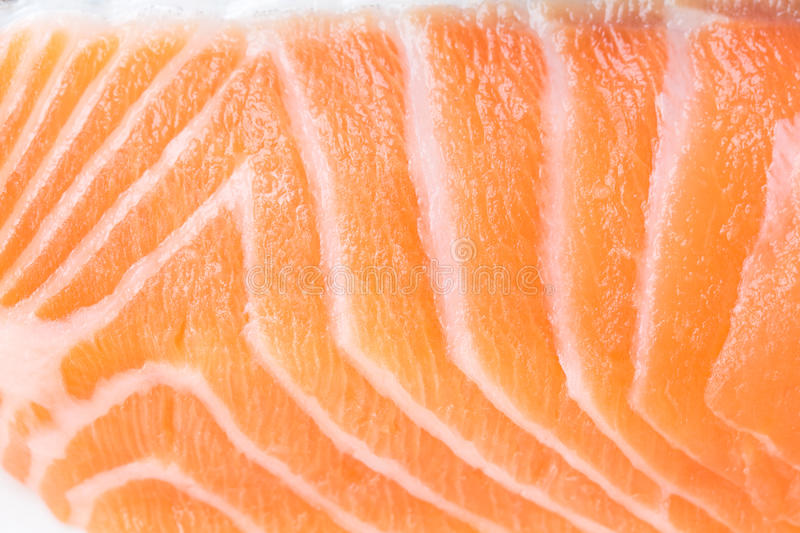 Macro close up of fresh salmon flesh. stock image
