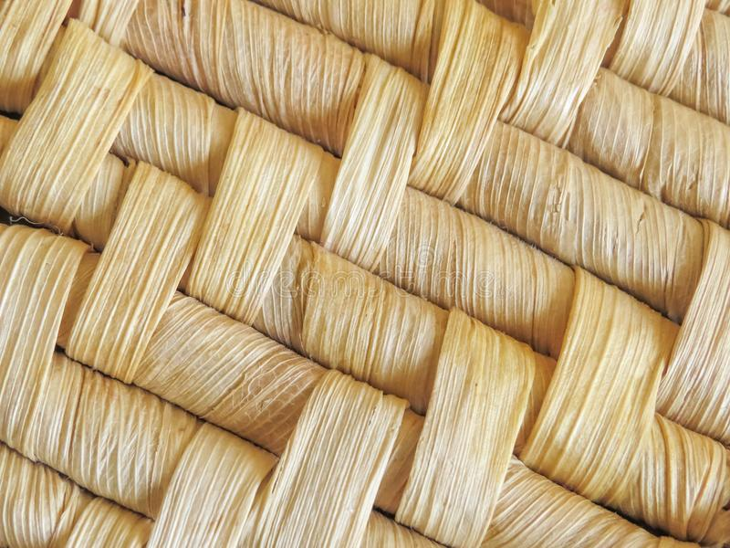 Detail of natural woven basketry. Made with dried leaves. stock images