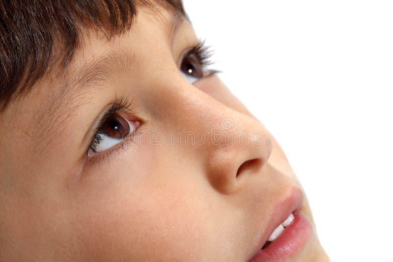 Macro close-up of young boy's eyes stock photos