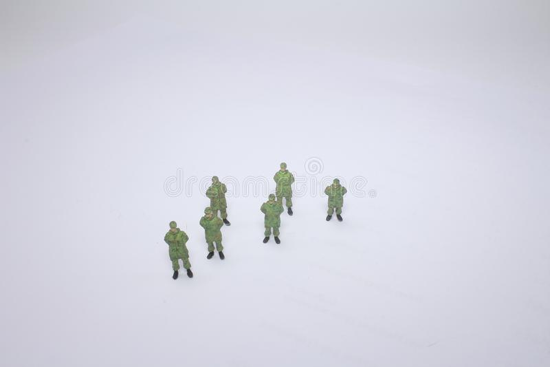 Macro closeup of little green army toys. Macro closeup of little a green army toys royalty free stock image