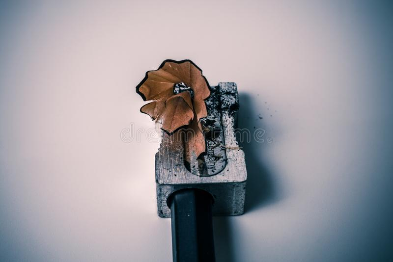 Macro closeup of sharpening a pencil with a grey metal pencil sharpener with wooden swirl shaving - Concept of school education royalty free stock images