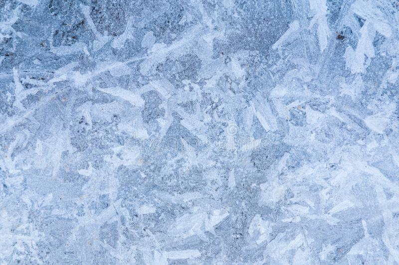 The macro or closeup shot of ice texture or background on the puddle or pool royalty free stock photo