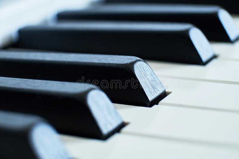 Macro closeup shot of a pianos white and black keys in a shallow depth of field royalty free stock photo