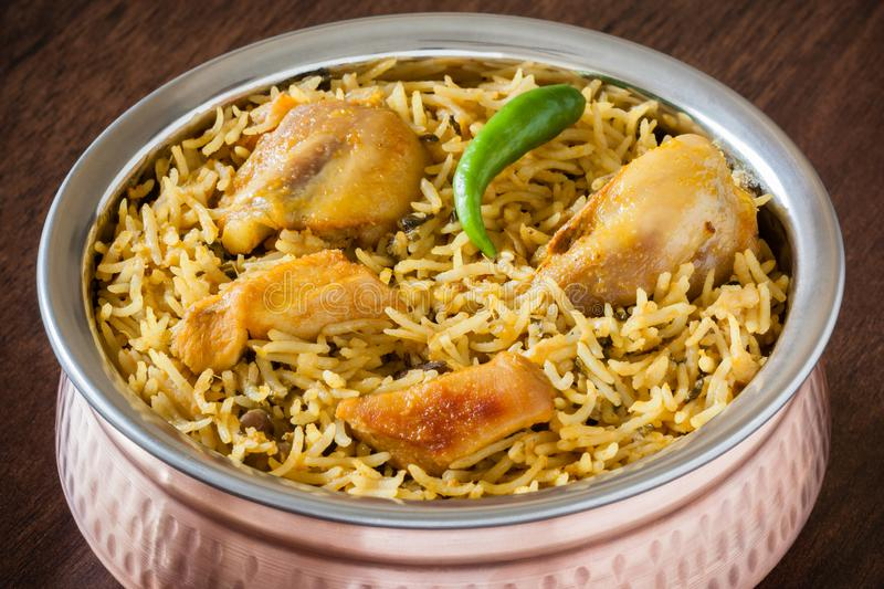 Chicken biryani closeup royalty free stock photography
