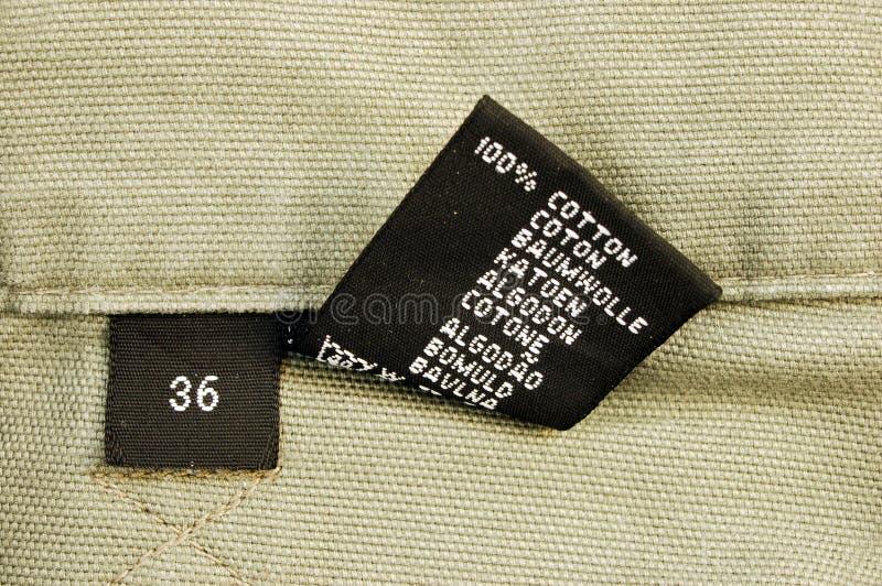 macro of clothing - size 36 stock images