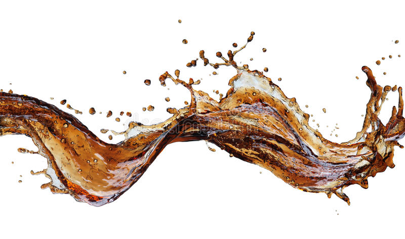 Macro cola splash. Macro splash of cola isolated on white background stock image
