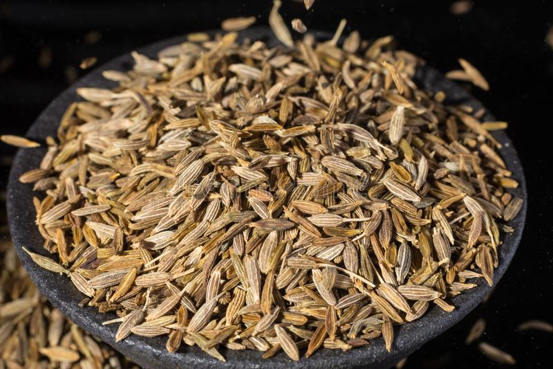 Macro collection, aromatic dried seasoning cumin close up stock photo