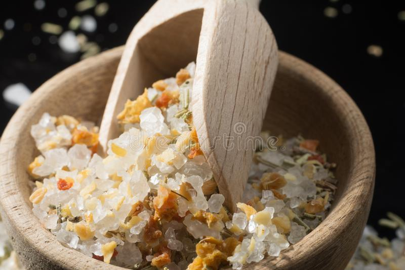 Macro collection, white sea salt mixed with italian herbs, rosem royalty free stock images