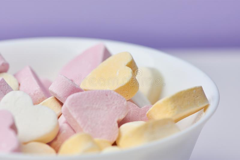 Colored candy hearts, close up royalty free stock images