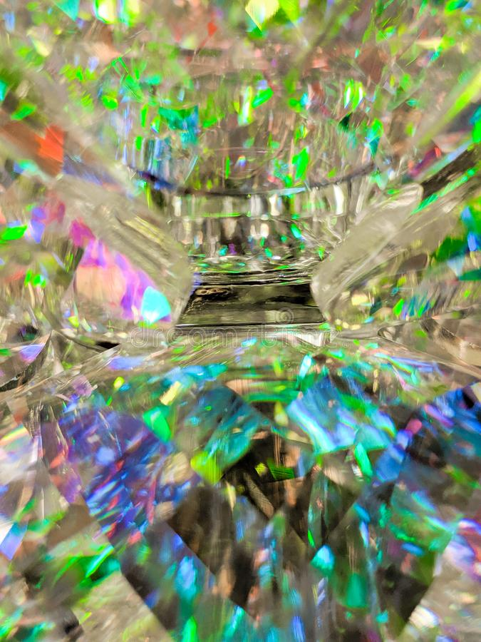 Macro of Colorful Lights Reflecting in Glass Ornament royalty free stock photography