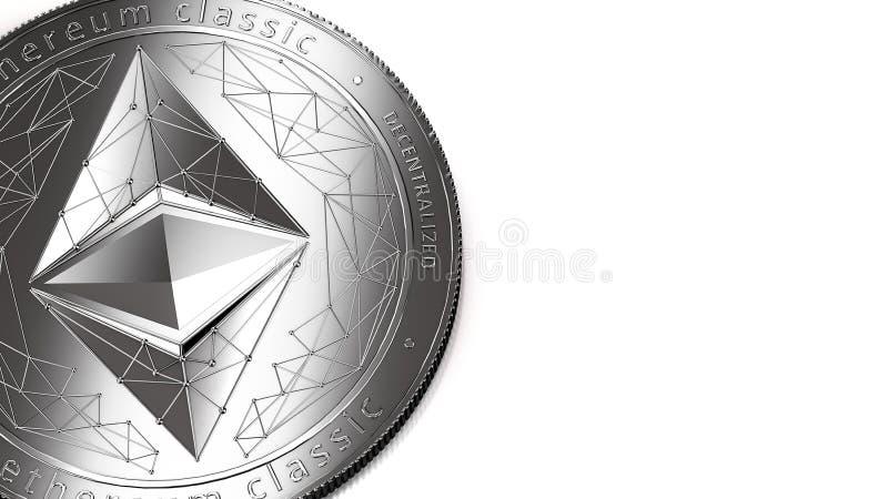 Macro colpo del classico di Ethereum e dello spazio d'argento della copia illustrazione di stock