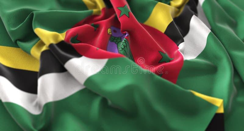 Macro colpo del primo piano di Dominica Flag Ruffled Beautifully Waving fotografia stock libera da diritti