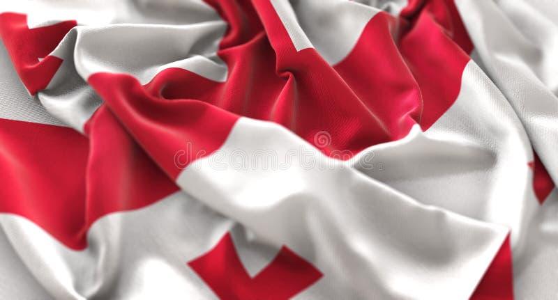 Macro colpo del primo piano di Georgia Flag Ruffled Beautifully Waving immagine stock libera da diritti