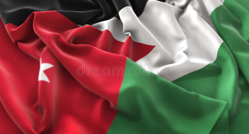 Macro colpo del primo piano di Jordan Flag Ruffled Beautifully Waving immagine stock