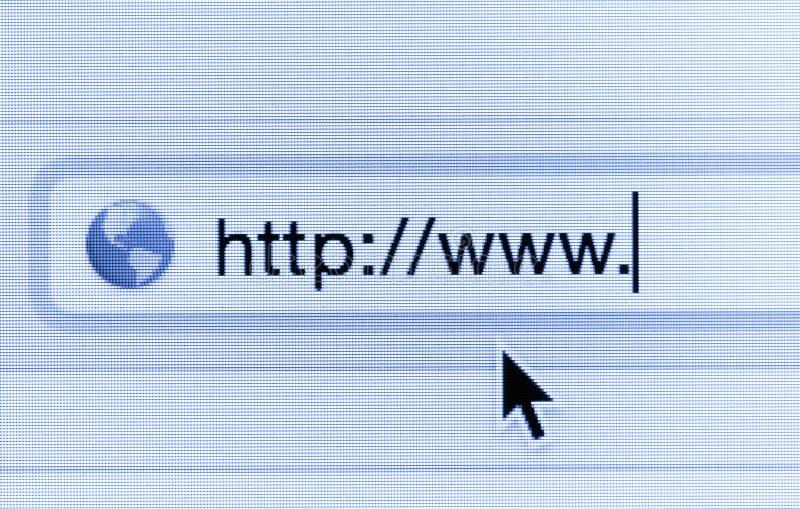 Macro colpo dello schermo di computer con la barra degli indirizzi ed il web di http:// illustrazione di stock