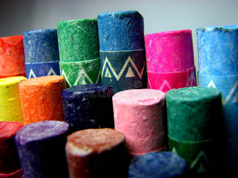 Macro Crayons. A macro view of colorful crayons appearing like some graph royalty free stock images