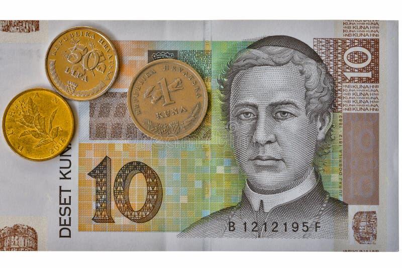 Macro croata e moedas da cédula de Kuna da nota 10 da moeda imagens de stock royalty free