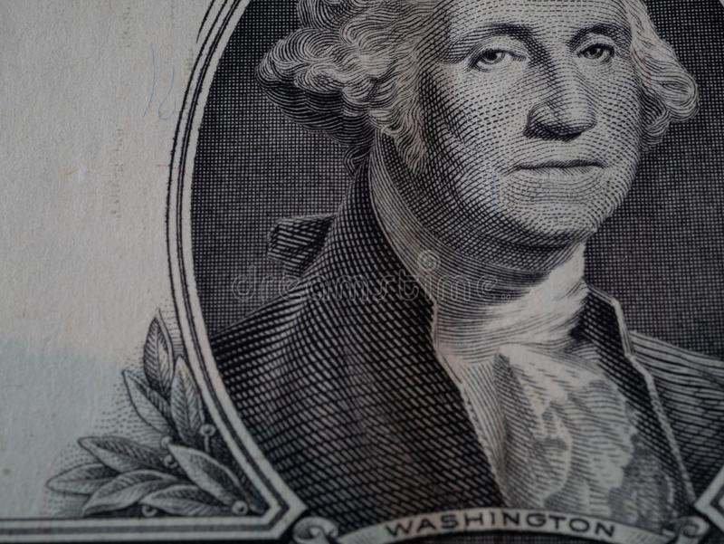Macro d'un billet de banque de billet d'un dollar image libre de droits