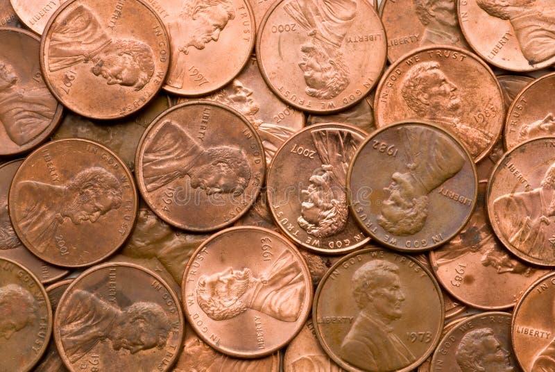 Macro da moeda de um centavo fotografia de stock royalty free