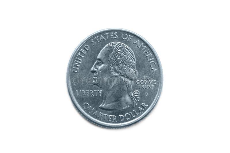 Macro da moeda do dólar de um quarto imagens de stock