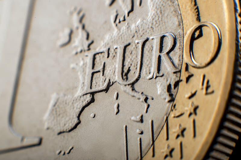 Macro da moeda do Euro imagens de stock royalty free